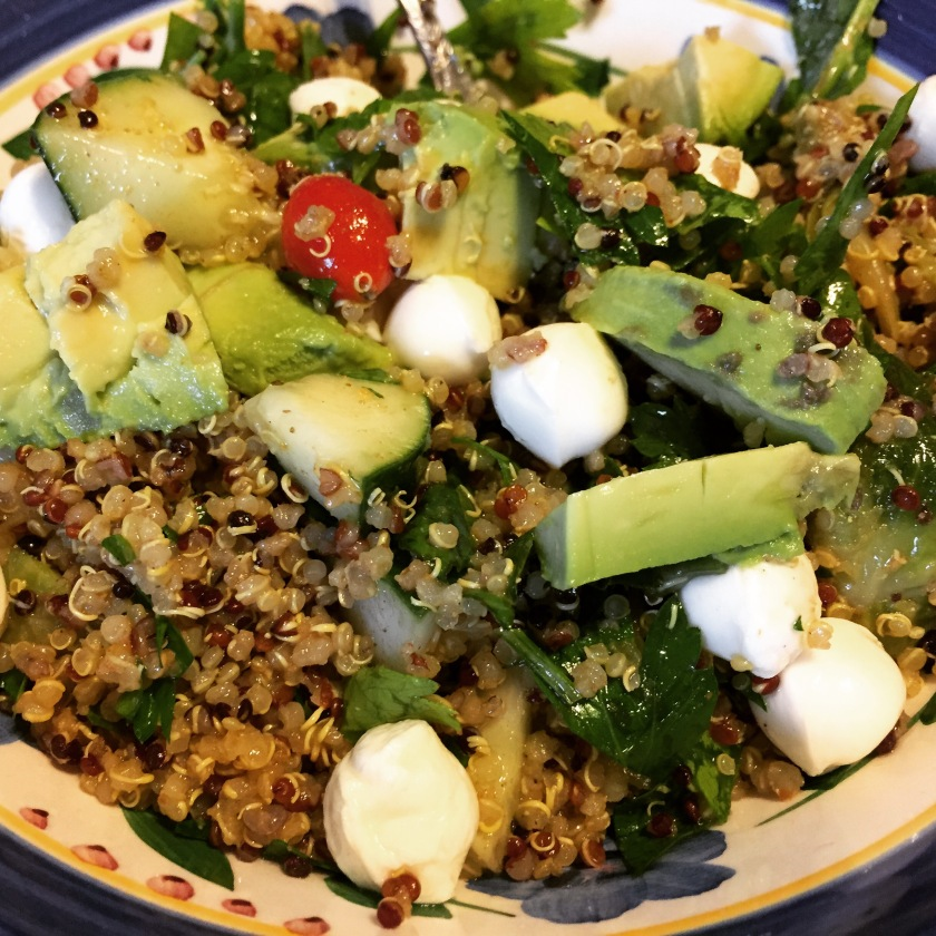 Quinoa Tabbouleh with mozzarella pearls and avocado